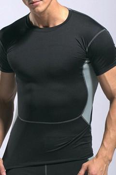 Guys Hot T-Shirt Contrast Striped Hem Crew Neck Short-sleeved Fitted T-Shirt