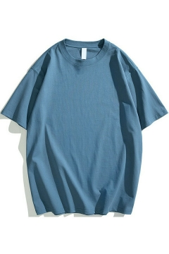 Vintage T-shirt Whole Colored Round Collar Short Sleeves Loose Fitted Tee Top for Guys