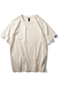 Basic Men's T-Shirt Pure Color Loose Fit Short-Sleeved Round Neck T-Shirt