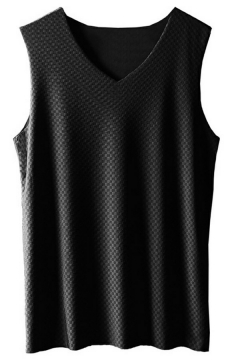 Breathable Mens Tank Top Pure Color V-Neck Sleeveless Slim Fitted Tank Top