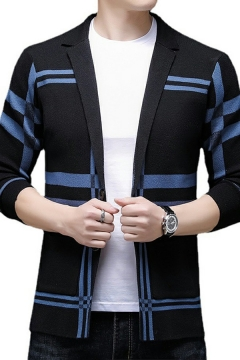 Fashionable Guy's Cardigan Striped Printed Turn-down Collar Long Sleeves Skinny Button-up Knitted Cardigan