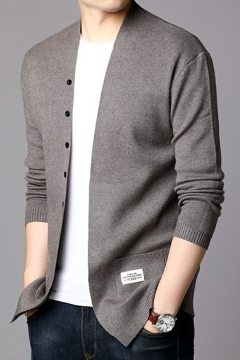 Dashing Cardigan Pure Color Pocket Decorated Long Sleeves Slimming Open Front Cardigan for Guys