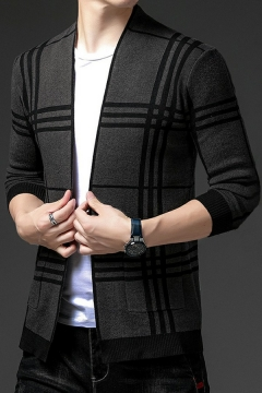 Leisure Cardigan Striped Pattern Ribbed Hem Long Sleeves Regular Fitted Knitted Cardigan for Men