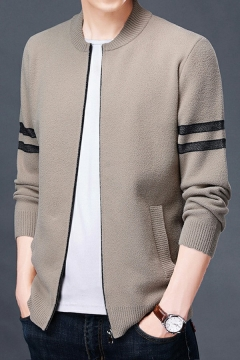 Mens Vintage Cardigan Striped Pattern Pocket Designed Round Neck Long Sleeves Relaxed Fit Zipper Cardigan