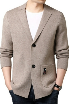 Cool Cardigan Solid Notched Collar Pocket Designed Long Sleeves Relaxed Button Down Cardigan for Men