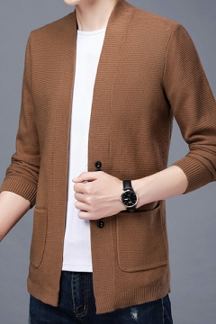 Casual Cardigan Pure Color Pocket Detailed Long-Sleeved Relaxed Button Down Knitted Cardigan for Guys