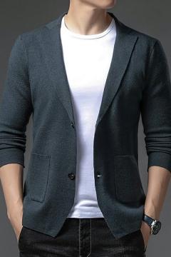 Modern Cardigan Plain Notched Collar Pocket Decoration Long Sleeves Slim Button-up Cardigan for Men