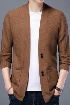 Mens Urban Cardigan Solid Pocket Detailed Long Sleeves Relaxed Button Down Knitted Cardigan