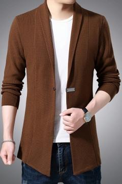 Elegant Cardigan Pure Color Asymmetric Hem Shawl Collar Long Sleeves Skinny Single Button Cardigan for Guys