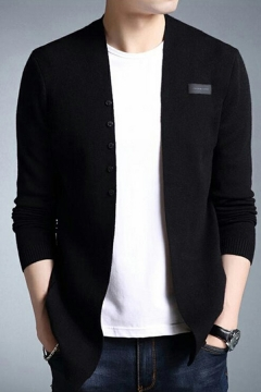 Freestyle Boys Cardigan Solid Color Label Designed Long-Sleeved Slim Fit Button Placket Cardigan
