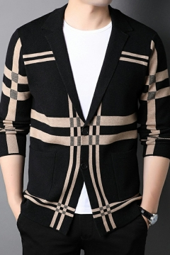 Fancy Cardigan Striped Pattern Notched Collar Pocket Long-Sleeved Relaxed Button Fly Cardigan for Guys