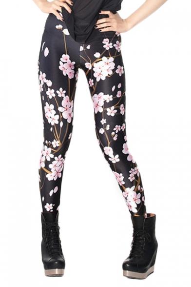 Black Elastic Leggings in Pink Peach-flower Overlay