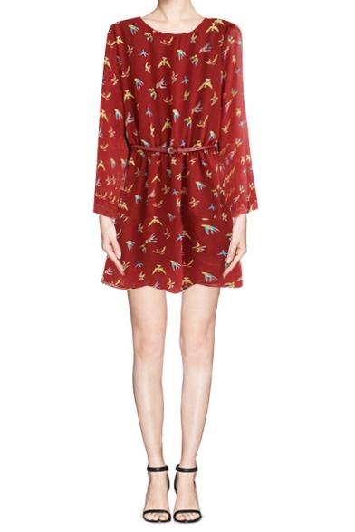 Red Bird Print Long Sleeve Dress Chiffon Dress