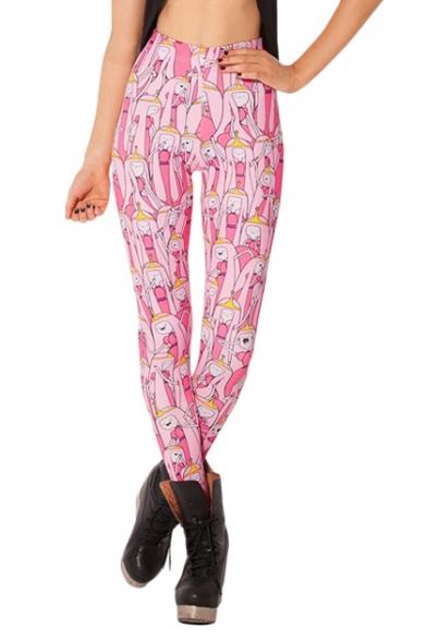 Sweet long Hair Princess Print Pink Skinny Leggings