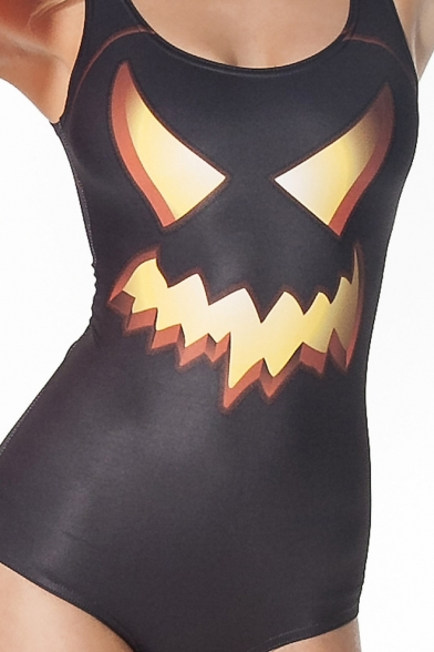 black halloween pumpkin face print one piece swimsuit - Halloween Swimsuit