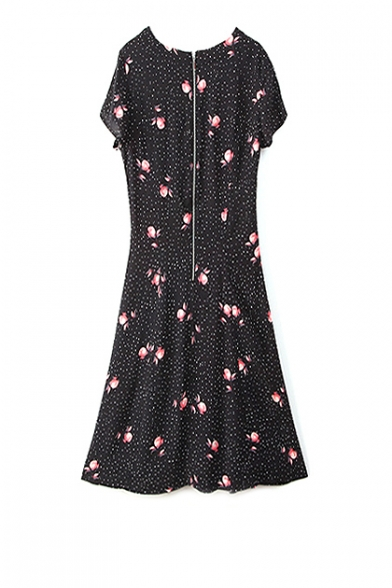 bbdaef747b ... Black Short Sleeve Skater Dress in Dotted Floral Print ...