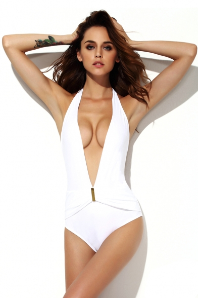 944250927ed Sexy White Deep-v Backless One Piece Swimsuit - Beautifulhalo.com