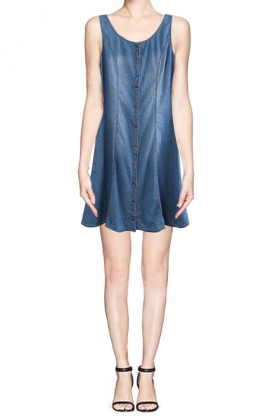 dd7693a035 Basic Scoop Neck Button Through Denim Tank Dress - Beautifulhalo.com