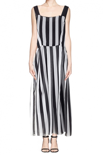 White and black vertical striped dress