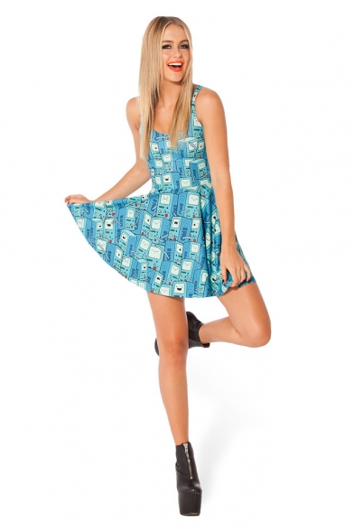 Cute Turquoise Straps Mini Skater Dress with Cartoon Print -  Beautifulhalo.com 2ee6a28dc
