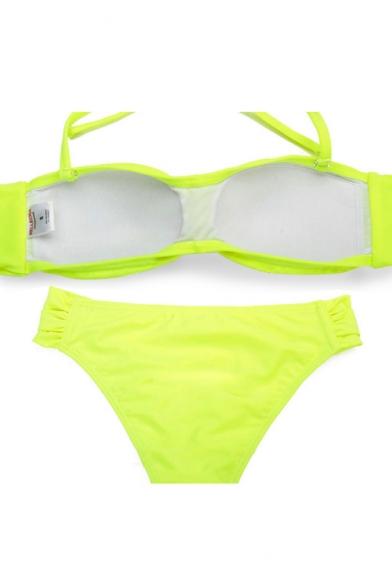 8aec573ce8333 Neon Green Twist Front Tie Back Bandeau Bikini Set - Beautifulhalo.com