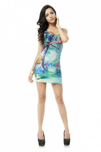 alice in wonderland print scoop neckline bodycon mini dress