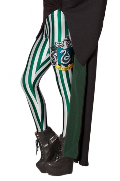 Green and White Vertical Stripe Elastic Leggings