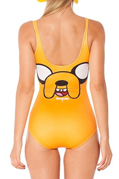 918776c3b01 ... Eye-catching Yellow One Piece Swimsuit with Cute Dog Print ...