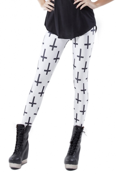 White Allover Cross Print Skinny Elastic Leggings