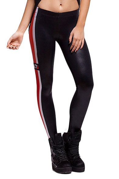 Black Right Side White and Red Stripes Trim Skinny Treggings