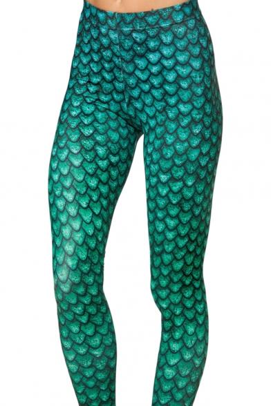 Vivid Green Fish Scale Print Elastic Leggings