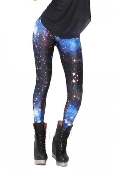 Black and Blue Starry Sky Print Skinny Elastic Leggings