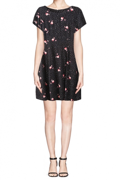 a2a4d068f9 Black Short Sleeve Skater Dress in Dotted Floral Print - Beautifulhalo.com