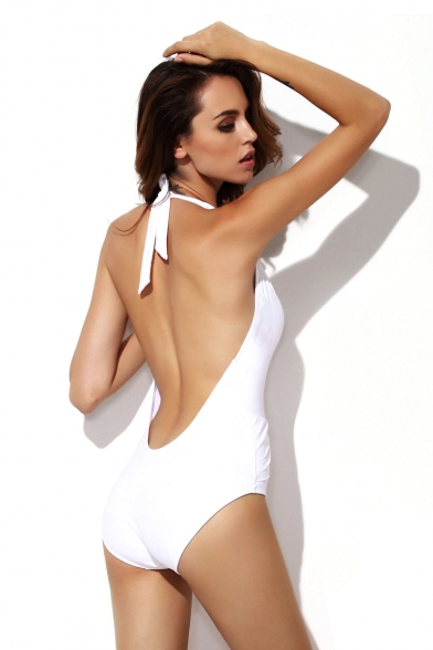 76f8389c10842 Sexy White Deep-v Backless One Piece Swimsuit - Beautifulhalo.com