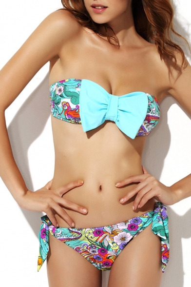 Blue Bow Bandeau Bikini Set in Floral Print