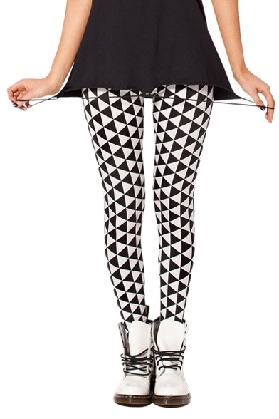 Black and White Geometric Print Elastic Leggings