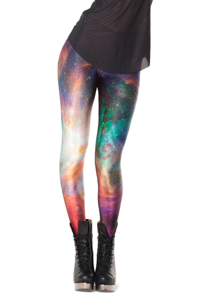 Colorful Cloudy and Starry Sky Print Elastic Leggings
