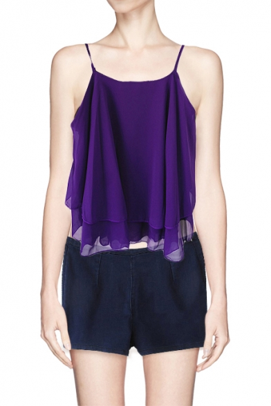 Plain Cross Back Double Layered Chiffon Cami Top