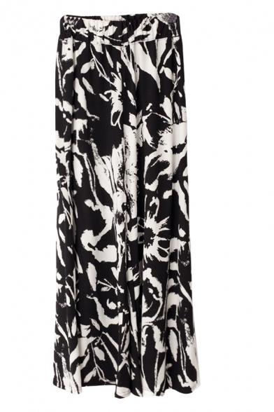 Mono Print Elastic Waist Wide Leg Pants