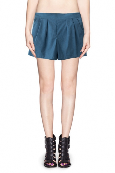 Plain Elastic Waist Loose Shorts with Pockets and Bow