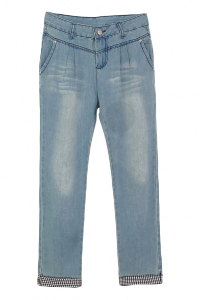 Light Wash Straight Leg Low Rise Rolled Cuffs Jeans