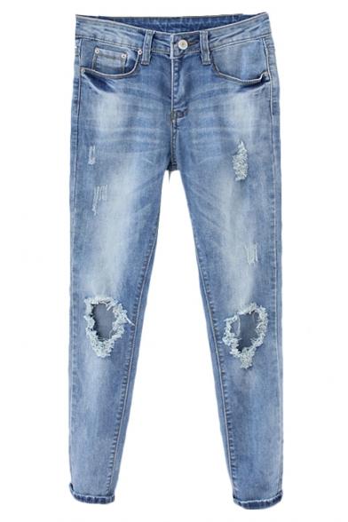 Open Knee Zipper Fly Slim Leg Jeans with Pockets