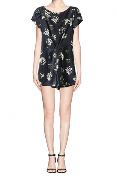 Dark Navy Spotted Short Sleeve Romper with Pleat Detail