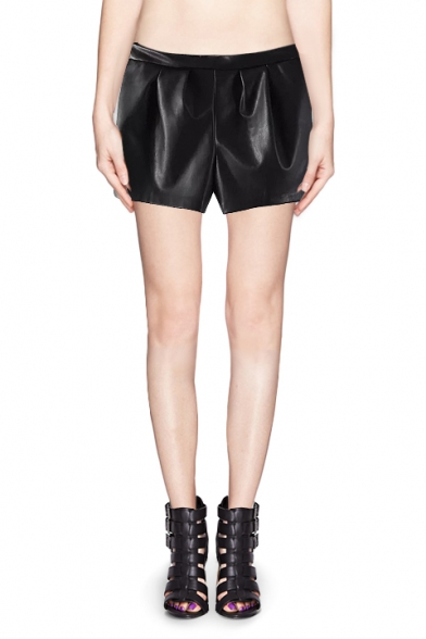 Elastic Waist Leather-look Culotte Shorts with Pocket