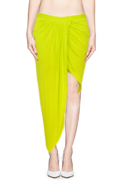 Asymmetrical Wrap Maxi Skirt with Ruched Detail