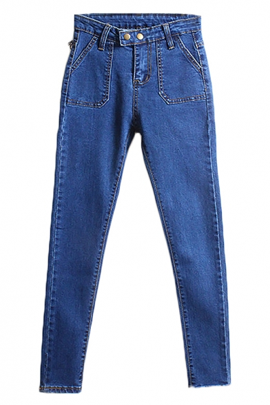 High Rise Original Patch Pocket Jeans with Double Button