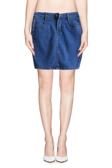 Classic Zip Fly Mini Denim Skirt with Pocket - Beautifulhalo.com