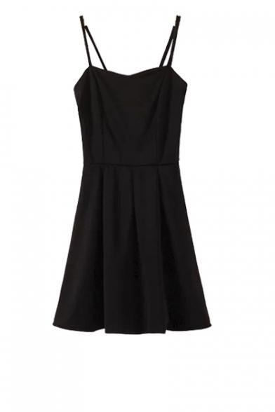e9412c21aef Basic Spaghetti Strap Zip Side Fit and Flare Dress - Beautifulhalo.com