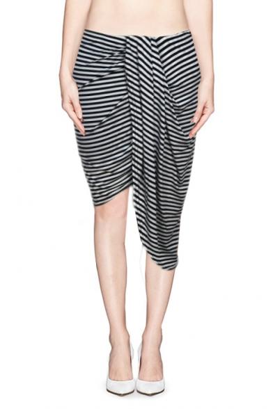Asymmetric Wrap Skirt in Black and White Stripe - Beautifulhalo.com