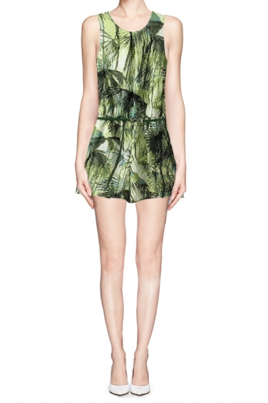 Green Botanical Print Cut-Out Back Sleeveless Romper with Belt
